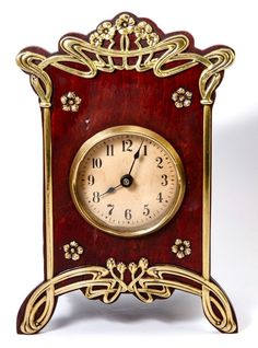 French Art Nouveau Desk or Mantel Clock, Wood & Polished Brass
