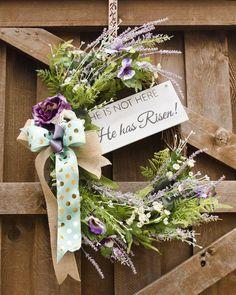 Spring Wreath, He is Risen, Spring Floral, Easter Wreath, Spring Decor, Jesus Wreath, Christian Wreath, Lavender Wreath, Burlap Wreath