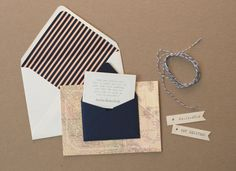 Stripes, maps, strings and stamps.  love these save the dates by Lily & Louise.