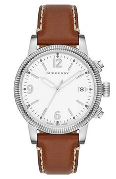 Burberry Round Leather Strap Watch @Nordstrom