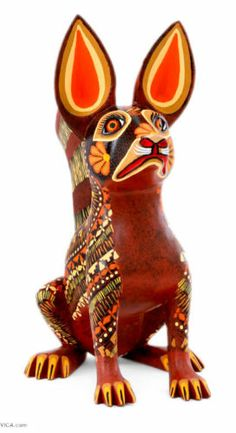 Aztec Dog Sculpture Hand Carved & Painted Wood Alebrije Folk Art NOVICA Mexico