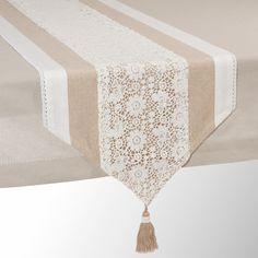 Camino de mesa de algodón beis L 150 cm WONDERFUL