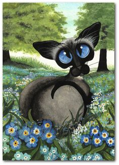 Siamese Cat - Forget Me Nots Summer Wild Flower ArT -  ACEO or Prints by Bihrle ck364