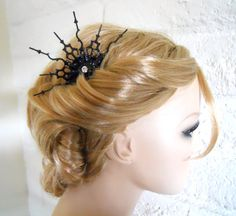 Steampunk Victorian Hair Comb black Gothic hair Ornament