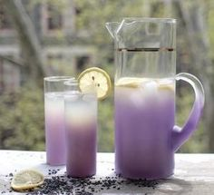 Lavender Iced Tea 4 cup water 4 fresh organic lemons. ( seeded and strained) 1 tbs dried lavender buds 1/8 cup raw blue agave nectar  1. Pour one cup boiling water over lavender buds.  2. Steep 10 min 3. Combine remaining water and lemon juice 4. Mix with steeped lavender water 5. Chill and serve