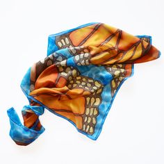 Butterfly scarf Hand painted silk scarf blue silk by AstaSilkWorld