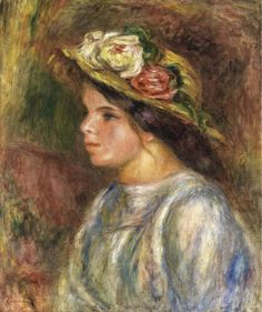 Pierre Auguste Renoir Bust Of A Woman, Straw Trimmed Hat Oil Painting Reproductions for sale Pierre Auguste Renoir, Painting Of Girl, Oil Painting On Canvas, Renoir Paintings, Oil Paintings, Impressionist Art, Oil Painting Reproductions, Artist Gallery, French Art