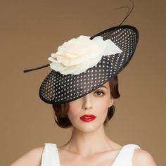 Black Polka Dot Linen Summer Church Fashion Dress Sun Hats for Women SKU-158457