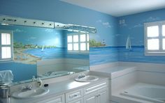 Bathroom Beach Mural by Renee' MacMurray of MacMurrayDesigns.com