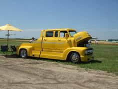 1956 Ford COE C600 Crew Cab Yellow Custom Trailer Puller.