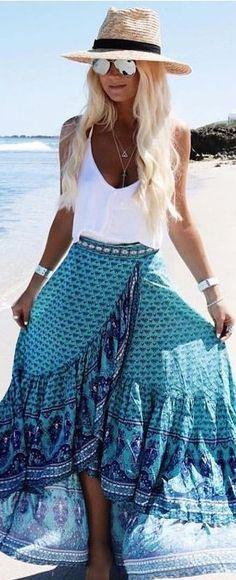 White Top + Turquoise Wrap Maxi Skirt