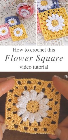 Good Totally Free crochet hook icon Tips Crochet Flower Square – This crochet flower square is an iconic and popular motifs in crochet. Crochet Flower Squares, Crochet Sunflower, Crochet Daisy, Granny Square Crochet Pattern, Crochet Motif, Crochet Designs, Crochet Flowers, Crochet Hooks, Granny Square Tutorial