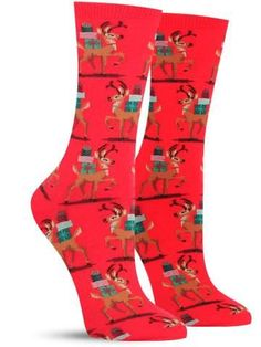 Loaded down with presents, the reindeer on these awesome Christmas socks had better be marching right to your house! Christmas Farm, Holiday Socks, Cotton Underwear, New York, Cool Socks, Reindeer, Hot, Ebay, Santa
