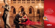 The 2011 Lavazza calendar by Mark Seliger I Venice. Violet Budd and Enrique Palacios portray two lovers at a cafe on St Mark's Square at high water. Martin Schoeller, Erwin Olaf, David Lachapelle, Steve Mccurry, Annie Leibovitz, Magnum Photos, One Love Coffee, Mark Seliger, Italian Espresso
