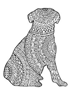 1 Adult Colouring Pages: Original Hand Drawn Art in Black and White, Instant Digital Download Outline of a Dog Filled with Decorative Images