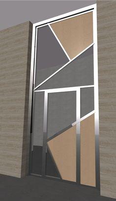2006 Puerta N. Diseño de Ernesto Oñate para puerta de entrada de edificio de tres viviendas en Cehegín resuelta con: acero, cristal y tablero fenólico con chapa de madera natural.