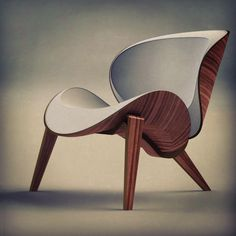 Bent plywood hyperbolic paraboloid chair. Major project. Designed by Rebecca Milnes