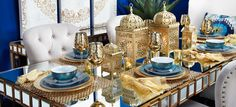 Love this cool combination- white, gold, and blue. And definitely digging the Moroccan inspiration... from Z Gallerie