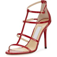 Jimmy Choo Dory Patent Leather Cage Sandal ($735) ❤ liked on Polyvore featuring shoes, sandals, heels, red, red ankle strap sandals, ankle strap heel sandals, t strap sandals, red high heel shoes and ankle wrap sandals
