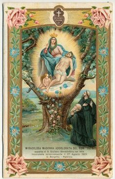 Vintage holy card depicting the Miraculous Sorrowful Madonna of Romitello