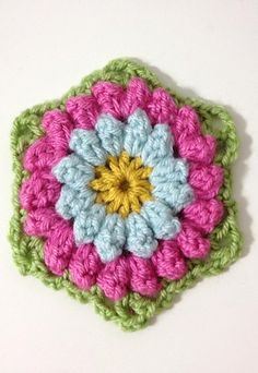 [Free Pattern] This Bobbly Flower Hexagon Was Inspired By And Designed After A Vintage Afghan