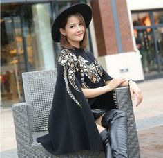 Womens Sequins Embroidery Long Sleeve Poncho Graceful Cardigan Zip Scoop Neck