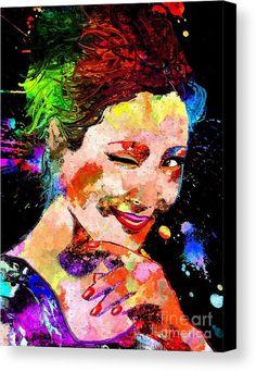 Asian Girl Grunge Canvas Print featuring the mixed media Asian Girl Grunge by Daniel Janda