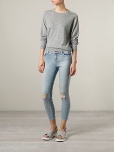 Blue cotton blend cropped distressed jeans from J Brand