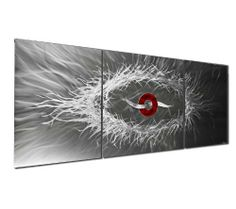 "3-Panel Original Wall Art 'Orbits and Trance' - 48x20 in. - Silver Abstract - Contemporary Modern Artwork - Large Silver Panels by NY Artwork. $490.00. Metal Wall Sculpture Size: 48""W x 20""H. Placement/Care - suitable for indoor/outdoor use, clean with soft/clean cotton cloth, warm water & mild hand soap. Material/Metal: - ground & brushed aerospace-grade aluminum. Made in the USA - each piece is created by hand by a professional modern metal artist. Green Process..."