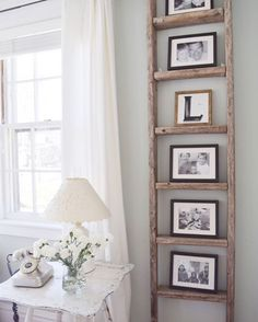 30 charming farmhouse living room design and decoration ideas for your home . - room room home decor lighting room decor room decor wall office decor ideas decoration design room Antique Ladder, Vintage Ladder, Decor Vintage, Rustic Ladder, Vintage Style, Diy Ladder, Ladder Shelf Decor, Ladder Display, Ladder Shelves