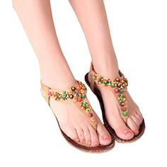 Hatop Summer Bohemia Sweet Beaded Sandals Clip Toe Sandals Beach Shoes 9 Khaki *** Continue to the product at the image link.(This is an Amazon affiliate link and I receive a commission for the sales)
