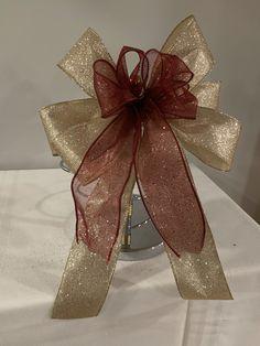 2 CHRISTMAS XMAS TREE GIFT BOWS SATIN  WIRED HESSIAN BURLAP SILVER GREY