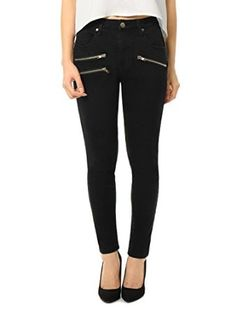 Allegra K Women High Waist Zipper Decor Stretchy Skinny Jeans at Amazon Women's Jeans store