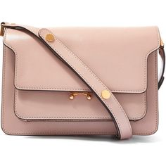 Marni Medium Pink Trunk Leather Shoulder Bag (€1.760) ❤ liked on Polyvore featuring bags, handbags, shoulder bags, crossbody handbags, leather crossbody, leather purse, crossbody purse and leather shoulder handbags