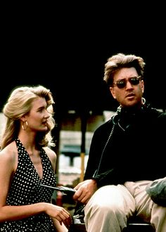 Laura Dern with director David Lynch on the set of Wild at Heart
