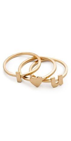 """These Jennifer Zeuner """"I, Heart, and U """"rings are so sweet yet subtle. On my wishlist!"""