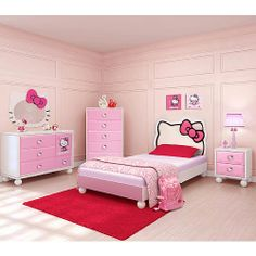 Bedroom in a Box Twin Bed Furniture Set - Hello Kitty - I know its a bit over the top but I Love This! I hope Madison still loves Hello Kitty when she gets her own room! Twin Bed Furniture, Girls Bedroom Furniture, Dream Furniture, Kids Bedroom, Kids Rooms, Furniture Design, Regency Furniture, Childrens Bedroom, Child Room
