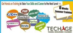 6 weeks Summer Training For PHP,.Net,Java,HTML,Android,Spring and more.Call for details: +91-9212063532,+91-9212043532 Visit:http://www.techageacademy.com/courses/summer-training/