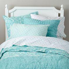 Dream Girl Kid Bedding (Aqua) - Land of Nod Aqua Bedding, Bedding Sets, Girl Bedding, Frozen Inspired Bedroom, Girls Bedroom, Bedroom Decor, Bedroom Ideas, Bedrooms, Frozen Room