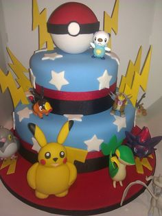Pokemon cake with gumpaste Pikachu, ball, lightning bolts - by Cakery Creation in Daytona Beach