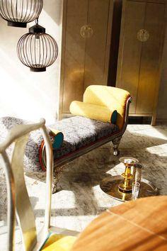 Chaise lounge, lanterns