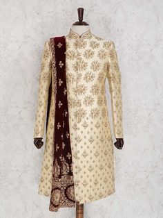 Don't Just Pin Get It In Your Wardrobe. Jayashree Garments We Build Custom Bespoke As Well As Made to Measure Garments Suits, Blazer's, Royal Sherwanis And Our Speciality Is Mass Production Of School/College's Uniforms Sherwani For Men Wedding, Sherwani Groom, Mens Sherwani, Wedding Dress Men, Wedding Men, Wedding Suits, Western Formal Wear, Western Suits, Indian Men Fashion