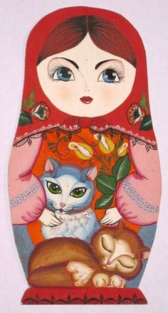 Painted matryoshka (Russian nesting doll) with two kittens. #folk #art #matryoshka