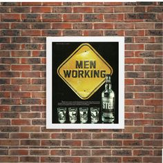 New to RetroPapers on Etsy: Vintage Bar Home Decor Ad - 1980s Retro Alcohol Sign: Steel Schnapps Men Working - 80s Booze and Party Framed Men Decor For Man Cave (10.99 USD)