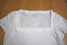 I hate scoop neck Ts. Won't even buy cute obes. Maybe now I will  Tutorial - Scoop to Square Neck T-shirt