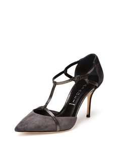 Pointed-Toe T-Strap Pump