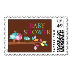 Cute Birds Nest Twins Baby Shower Thank You Stamp