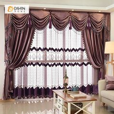 DIHIN HOME Solid Coffee Luxurious Exquisite Embroidered Valance ,Blackout Curtains Grommet Window Curtain for Living Room Panel Curtains Living Room, French Country Living Room, Living Room Decor Curtains, Curtains, Curtain Decor, Country Living Room, Valance, Blackout Curtains, Grommet Curtains