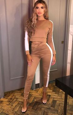 Camel With White Stripe Off Shoulder Loungewear Set - Shani Cute Comfy Outfits, Simple Outfits, Chic Outfits, Loungewear Outfits, Loungewear Set, Joggers Outfit, Cuffed Joggers, Co Ords Outfits, Inspired Outfits