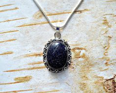 Your place to buy and sell all things handmade Gemstone Necklace, Gemstone Rings, Blue Glitter, Gemstone Colors, Blue Fashion, Healing Stones, Midnight Blue, Sterling Silver Chains, Gemstones
